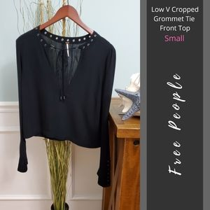Free People | Low V Cropped Grommet Tie Front Top